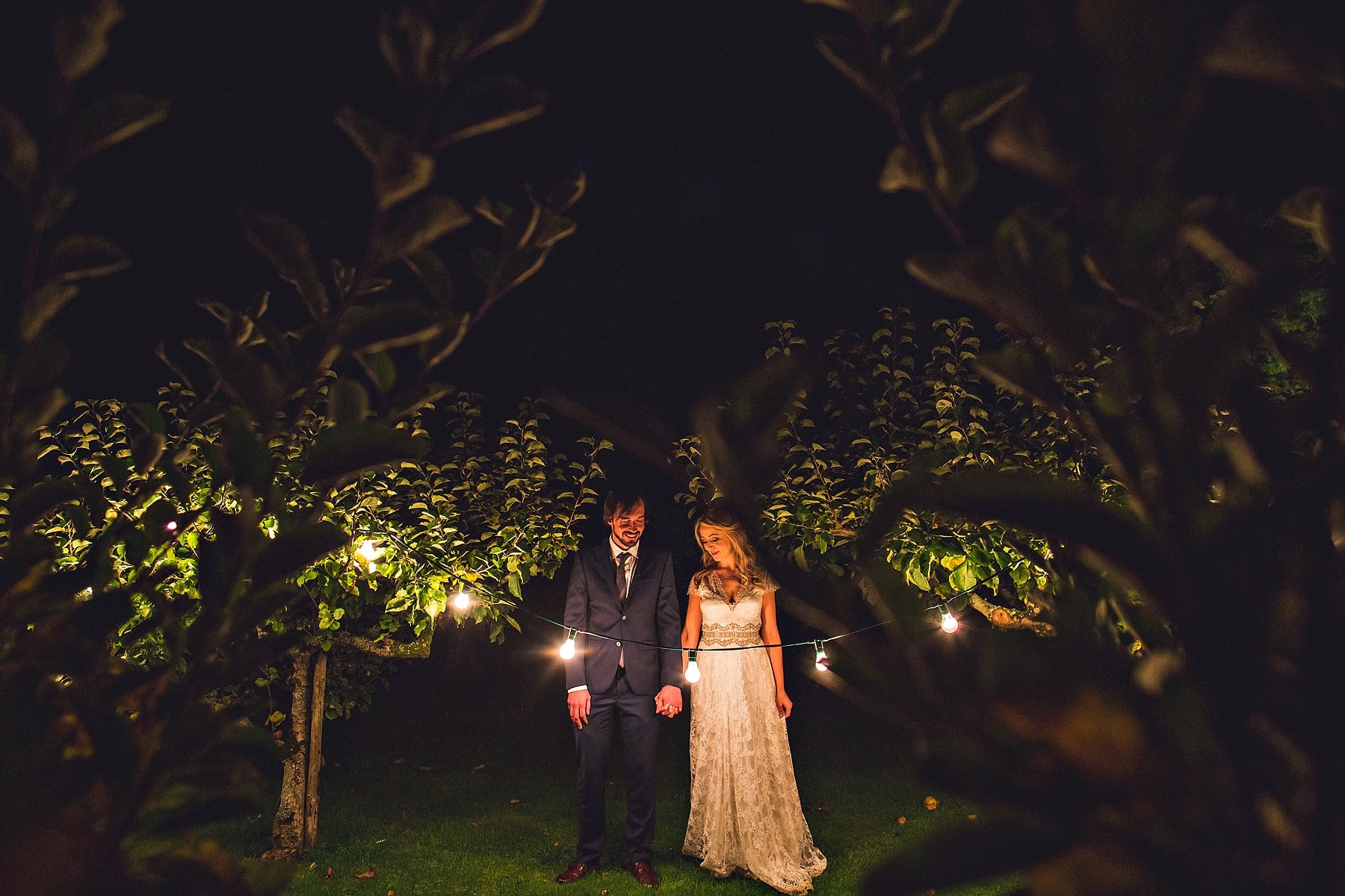 Bride Groom Night Lights Ballintubbert House Ireland Wedding Photographer,