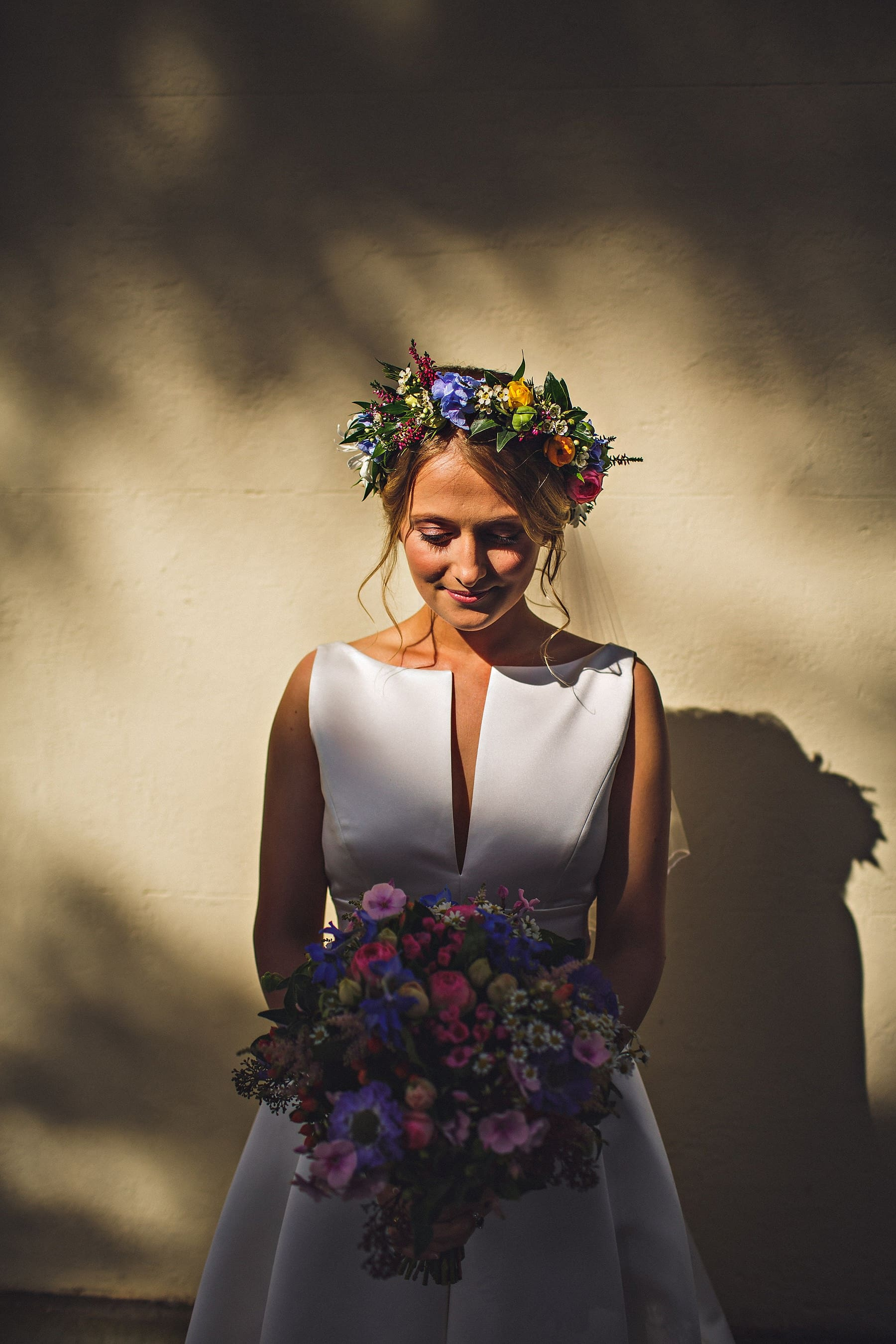 Bride Flower Crown Wales Wedding Photographer,