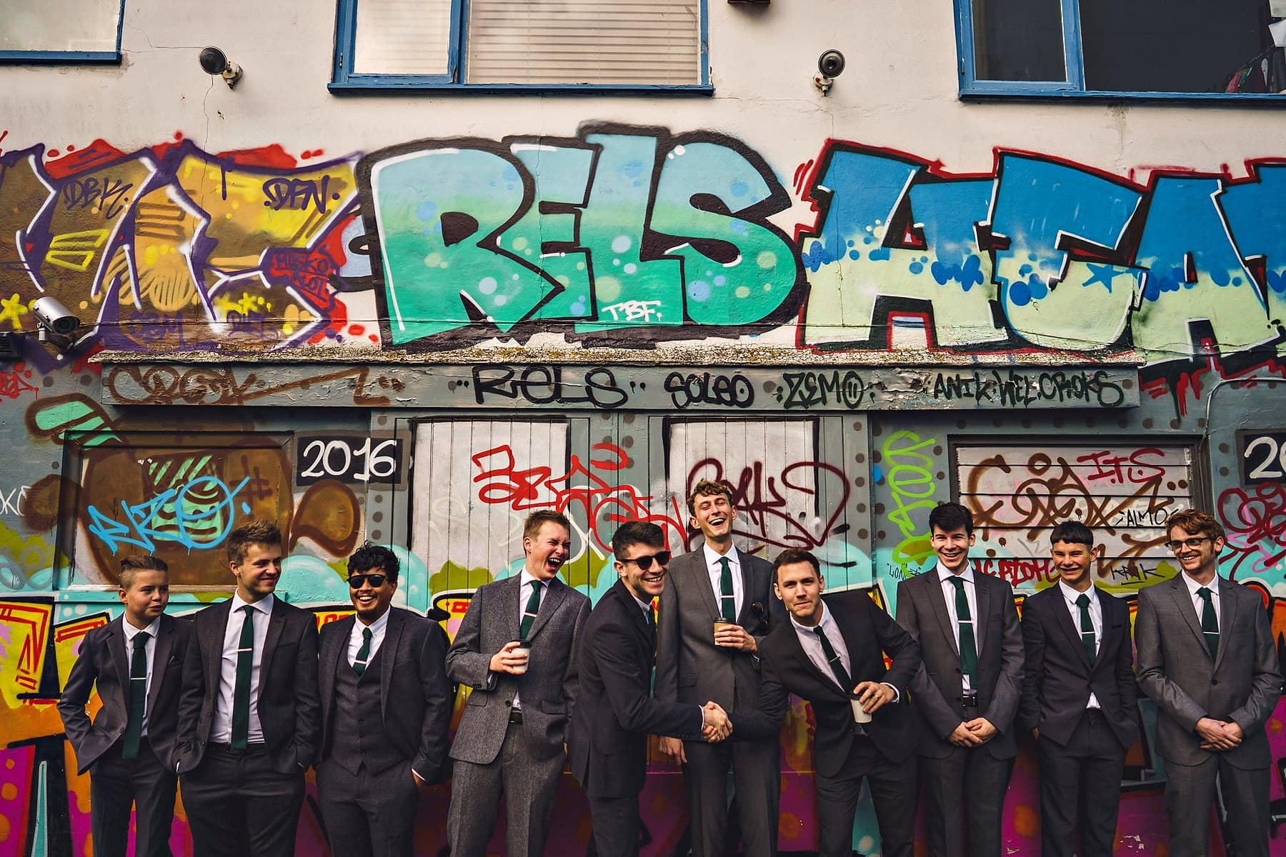 Groom Best Men Groomsmen Ushers Graffiti Street Brighton Wedding Photographer,