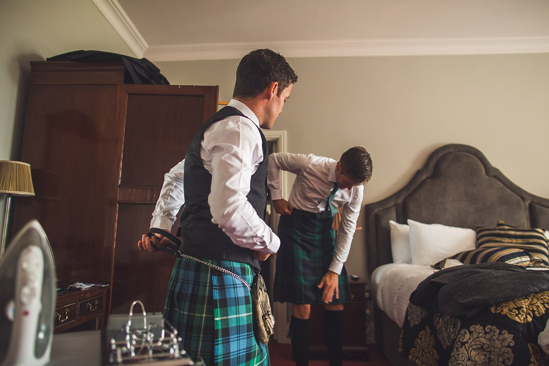 Scottish groom,Irish castle wedding,Sligo wedding photographers,tartan kilt style,