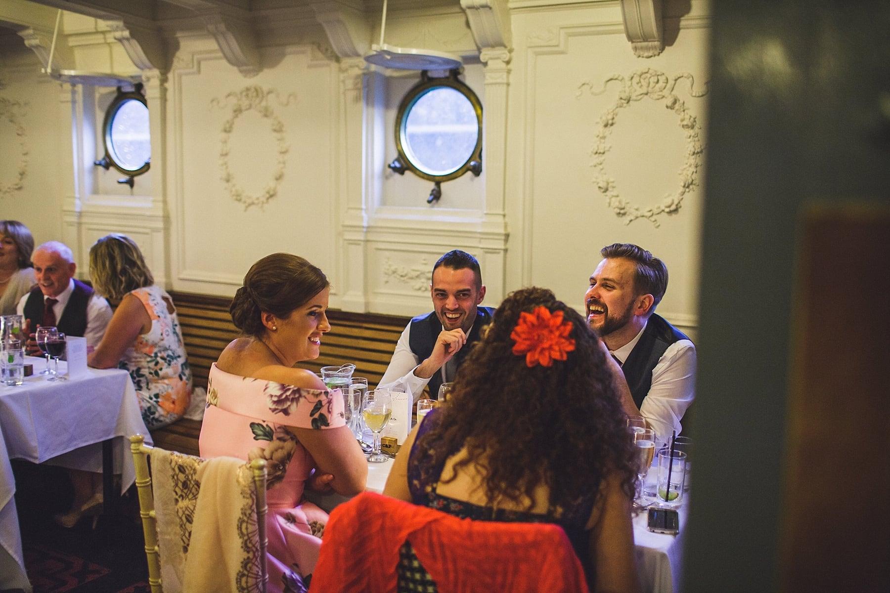 titanic quarter,SS nomadic,boat,wedding,belfast city photographer,wedding stationary,posh nosh catering,speeches,bride and groom,laughter,