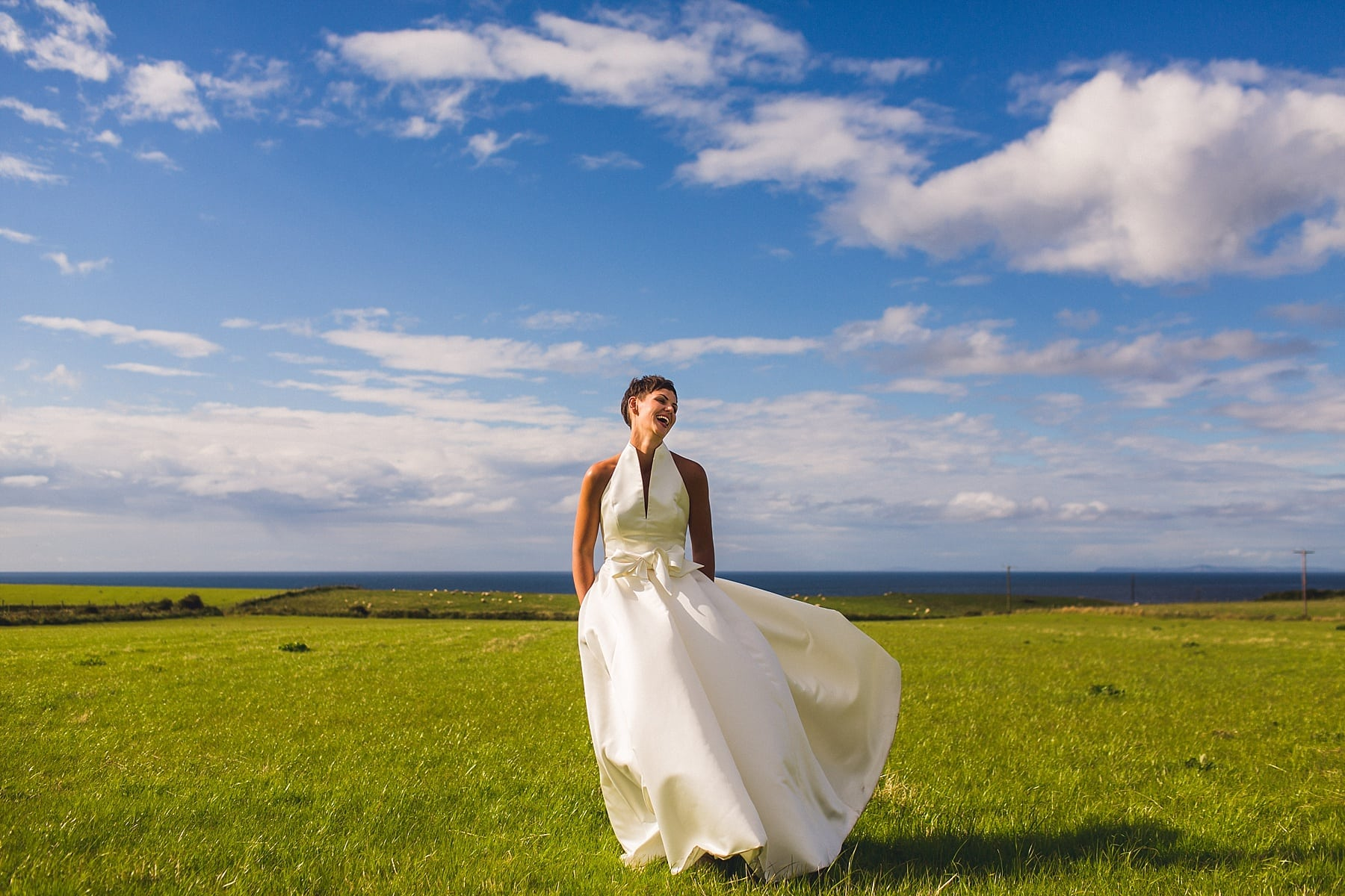 McShane Glen Cottages Wedding,Northern Ireland wedding photographer,north coast wedding venue,bride wedding dress pockets,joyful,fun,